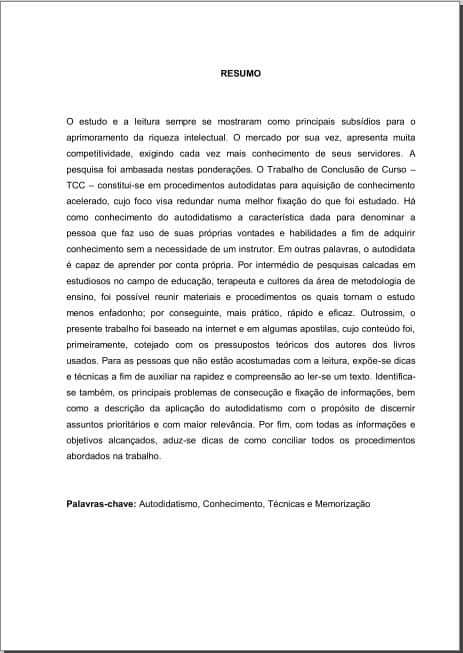 exemplo de um resumo de TCC