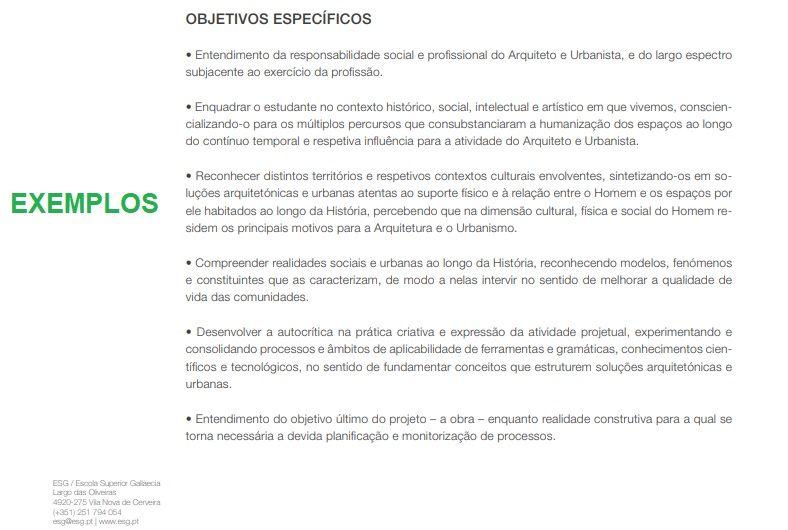 exemplos objetivos específicos