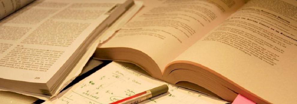 cadernos, caneta e livros