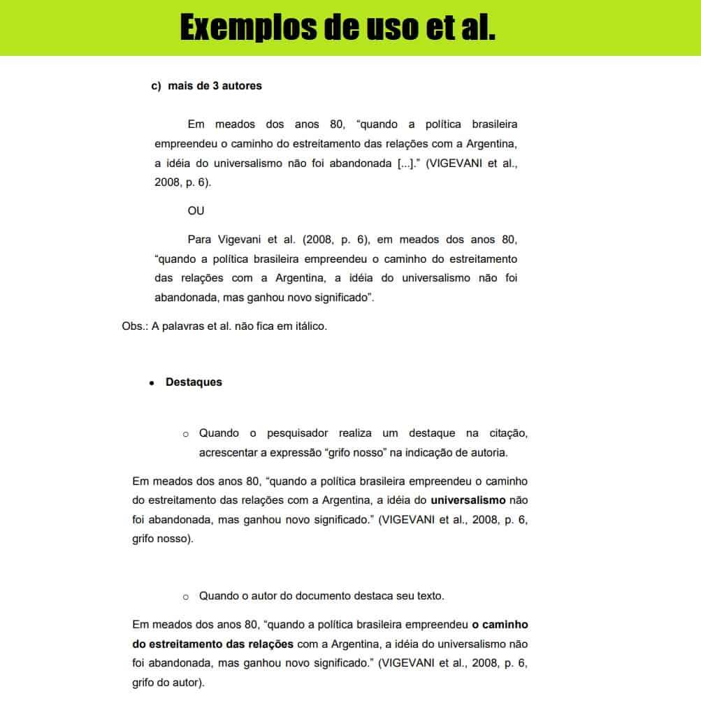 exemplos de uso Et al